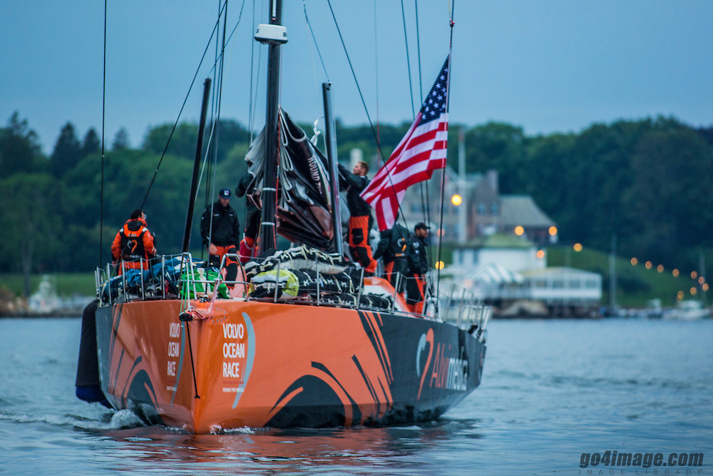 NEWPORT, RI - JUNE 09:  race entrant Team Alvimedica arrives from Lisbon, Portugal on June 9, 2014 in Newport, Rhode Island. The boat will be competing in the opening event of New York Yacht Club&rsquo;s 160th Annual Regatta. Starting from Alicante in Spain on October 04, 2014, the route, spanning some 39,379 nautical miles, visits 10 ports in ten countries (Spain, South Africa, United Arab Emirates, China, New Zealand, Brazil, United States, Portugal, France and Sweden) over nine months. The Volvo Ocean Race is the world's premier ocean yacht race for professional racing crews.the Volvo Ocean Race 2014 from Alicante to Cape Town on October 5, 2014 in Alicante, Spain. <br /> Photo by: Daniel Forster / Team Alvimedica