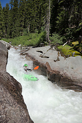 """Kayaker on Silver Creek 26"" - This kayaker was photographed on Silver Creek - South Fork, near Icehouse Reservoir, CA."