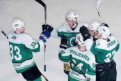 Team HK Olimpija celebrate during ice-hockey match between HK Olimpija and HK Jesenice Mladi in SLOHOKEJ league, on Januar 8, 2011 at Hala Tivoli, Ljubljana, Slovenia. (Photo By Matic Klansek Velej / Sportida.com)