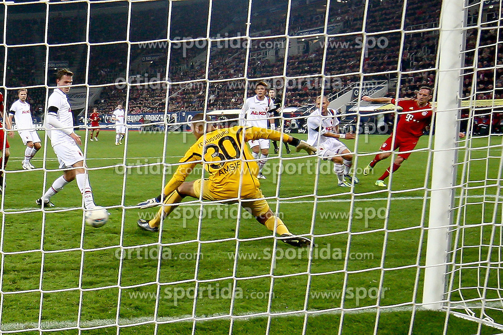 06.11.2011, SGL Arena, Augsburg, GER, 1.FBL, FC Augsburg vs. FC Bayern Muenchen, im Bild  Tor zum 0-2 durch Franck Ribery (Bayern #7) mit Mohamed Amsif (Augsburg #30) // during the match  FC Augsburg vs. FC Bayern Muenchen , on 2011/11/06, SGL Arena, Augsburg, Germany, EXPA Pictures © 2011, PhotoCredit: EXPA/ nph/  Straubmeier       ****** out of GER / CRO  / BEL ******