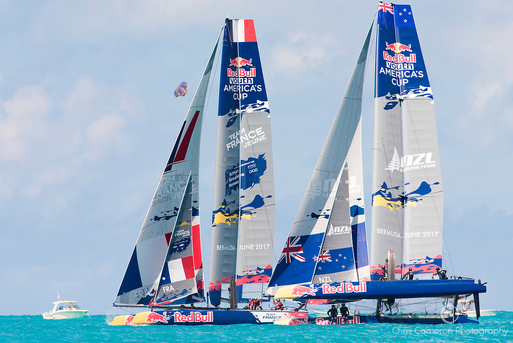 The Great Sound, Bermuda, 20th June 2017, Red Bull Youth America's Cup Finals. Race three, Team France Jeune and NZL Sailing Team.
