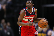 March 29, 2012; Indianapolis, IN, USA; Washington Wizards shooting guard Jordan Crawford (15) brings the ball up court against the Indiana Pacers at Bankers Life Fieldhouse. Indiana defeated Washington 93-89. Mandatory credit: Michael Hickey-US PRESSWIRE