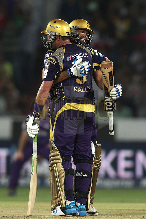Jacques Kallis of the Kolkata Knight Riders and Yusuf Pathan of the Kolkata Knight Riders celebrate as Kolkata Knight Riders beat Hobart Hurricanes to reach the final during the first semi final match of the Oppo Champions League Twenty20 between the Kolkata Knight Riders and the Hobart Hurricanes held at the Rajiv Gandhi Cricket Stadium, Hyderabad, India on the 2nd October 2014<br /> <br /> Photo by:  Shaun Roy / Sportzpics/ CLT20<br /> <br /> <br /> Image use is subject to the terms and conditions as laid out by the BCCI/ CLT20.  The terms and conditions can be downloaded here:<br /> <br /> http://sportzpics.photoshelter.com/gallery/CLT20-Image-Terms-and-Conditions-2014/G0000IfNJn535VPU/C0000QhhKadWcjYs