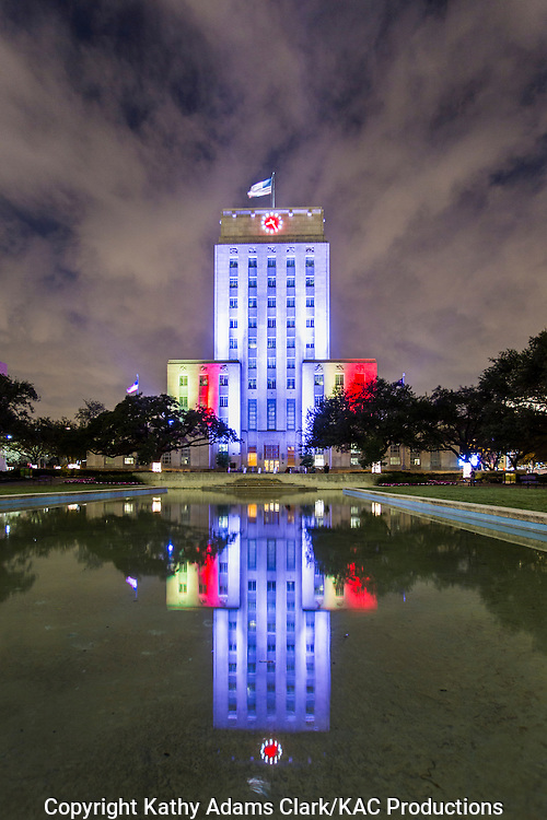 City Hall and the  Hermann Square Reflection Pond in downtown Houston, Texas.