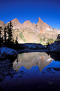 Morning light on the Minarets reflected in an alpine tarn, Ansel Adams Wilderness, Sierra Nevada Mountains, California