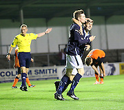 Craig Wighton celebrates his clinching goal for Dundee with John Black - Dundee v Dundee United, SPFL Development League at Gayfield, Arbroath<br /> <br />  - &copy; David Young - www.davidyoungphoto.co.uk - email: davidyoungphoto@gmail.com