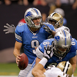 2009 September 13: Detroit Lions rookie quarterback Matthew Stafford (9) is sacked by New Orleans Saints linebacker Jonathan Vilma (51) during a 45-27 win by the New Orleans Saints over the Detroit Lions at the Louisiana Superdome in New Orleans, Louisiana.