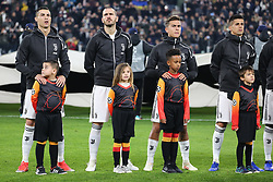 November 27, 2018 - Turin, Piedmont, Italy - From left: Cristiano Ronaldo (Juventus FC), Leonardo Bonucci (Juventus FC), Paulo Dybala (Juventus FC)  and Joo Cancelo (Juventus FC) before the UEFA Champions League match between Juventus FC and Valencia CF, at Allianz Stadium on November 27, 2018 in Turin, Italy. .Juventus won 1-0 over Valencia. (Credit Image: © Massimiliano Ferraro/NurPhoto via ZUMA Press)