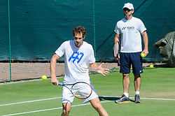 &copy; Licensed to London News Pictures. <br /> The Championship Wimbledon 2017 Wimbledon, UK. 02 07 2017<br /> CAPTION:   Andy Murray practice session on the Aorangi Park court 15 at Wimbledon the day before the start of the 2017 Championship with Jamie Delgado, a close member of his coaching team.<br /> Photo credit: Peter van den Berg/LNP