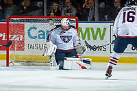 KELOWNA, BC - OCTOBER 2:  Beck Warm #35 of the Tri-City Americans makes a second period save against the Kelowna Rockets  at Prospera Place on October 2, 2019 in Kelowna, Canada. (Photo by Marissa Baecker/Shoot the Breeze)