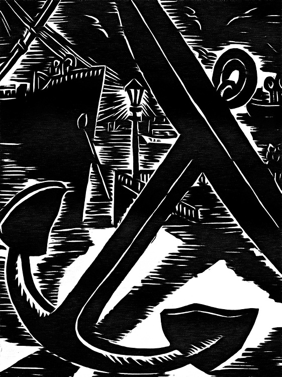 A black / white drawing of an anchor lying on the dock with a ship in the background