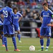 Ferando Torres, (right) Chelsea and Demba Ba, Chelsea,  during the Manchester City V Chelsea friendly exhibition match at Yankee Stadium, The Bronx, New York. Manchester City won the match 5-3. New York. USA. 25th May 2012. Photo Tim Clayton