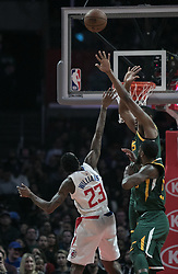 January 16, 2019 - Los Angeles, California, United States of America - Lou Williams #23 of the Los Angeles Clippers is blocked by Donovan Mitchell #45 of the Utah Jazz during their NBA game  on Wednesday January 16, 2019 at the Staples Center in Los Angeles, California. Clippers lose to Jazz, 129-109. JAVIER ROJAS/PI (Credit Image: © Prensa Internacional via ZUMA Wire)