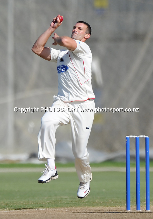 Canterbury's Andrew Ellis bowling. Plunket Shield domestic cricket match, Auckland Aces v Canterbury Wizards. Colin Maiden Park, Auckland. Thursday 31 March 2011. Photo: Andrew Cornaga/photosport.co.nz