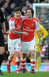 Arsenal's Tomas Rosicky celebrates his goal with Arsenal's Hector Bellerin - Photo mandatory by-line: Dougie Allward/JMP - Mobile: 07966 386802 - 01/03/2015 - SPORT - football - London - Emirates Stadium - Arsenal v Everton - Barclays Premier League