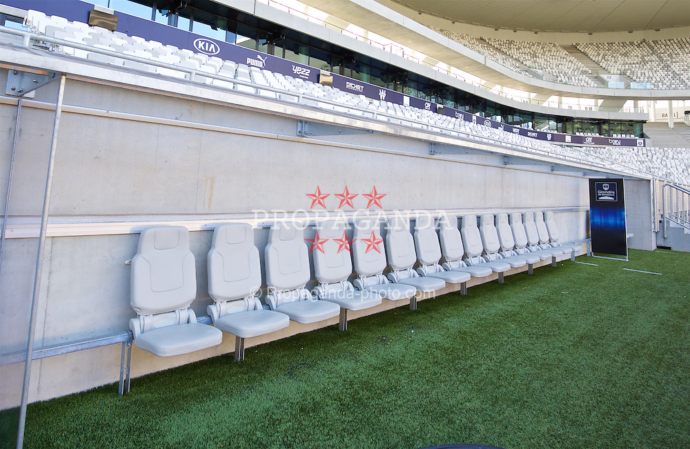 BORDEAUX, FRANCE - Tuesday, January 26, 2016: The technical area bench at the Stade Matmut Atlantique, home of Girondins de Bordeaux, on an inspection visit ahead of the UEFA Euro 2016 Tournament. (Pic by David Rawcliffe/Propaganda)