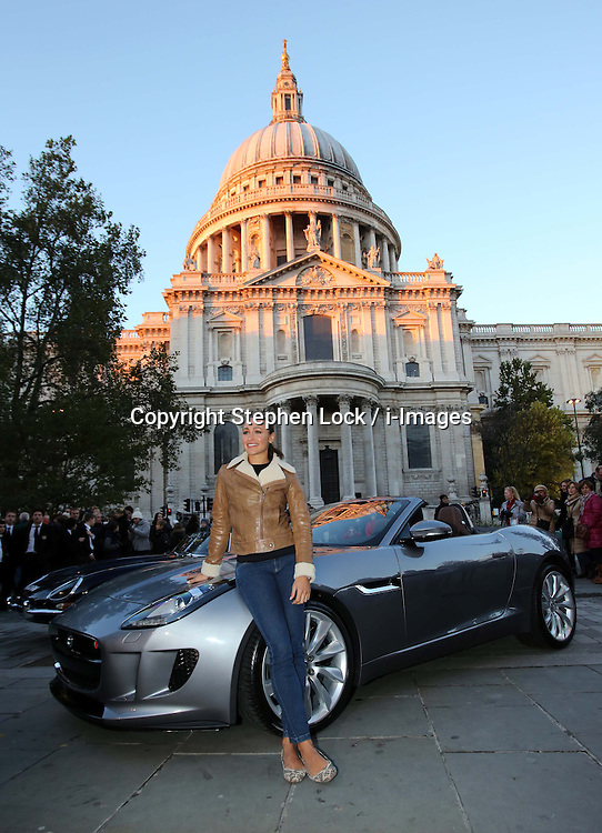 London Olympics 2012 Golden Girl Jessica Ennis in London, Thursday, 1st November 2012 with the new F-Type Jaguar that she will drive during the Lord Mayor's Show on Nov 10th. Photo by: Stephen Lock / i-Images<br /> File photo - Jessica Ennis Pregnant<br /> <br /> Team GB gold medallist Jessica Ennis announces this morning Friday 10th January 2014 via her Facebook fan page that she is pregnant. Photo filed Friday, 10th January 2014