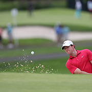 Rory McIlroy chips out of the bunker on the 7th hole during the first round of theThe Barclays Golf Tournament at The Ridgewood Country Club, Paramus, New Jersey, USA. 21st August 2014. Photo Tim Clayton
