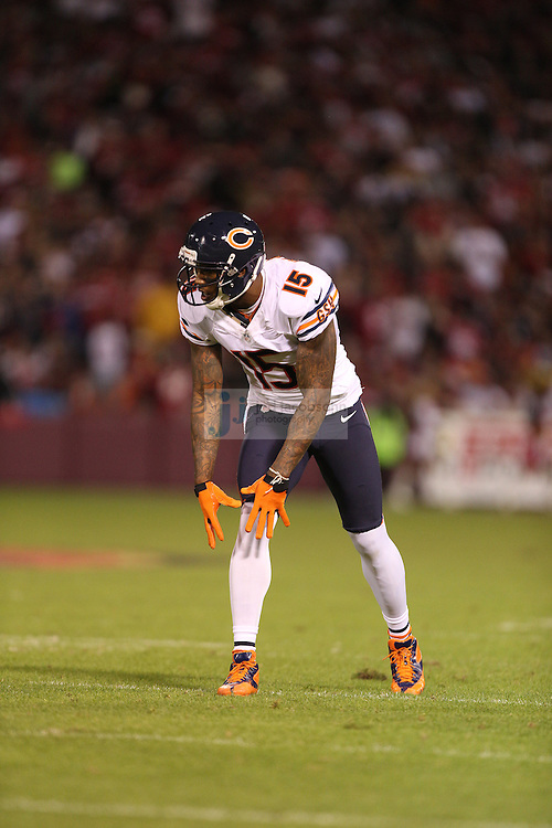 Chicago Bears wide receiver Brandon Marshall (15) in action against the San Francisco 49ers, during an NFL game on Monday Nov. 19, 2012 in San Francisco, CA.  (photo by Jed Jacobsohn)