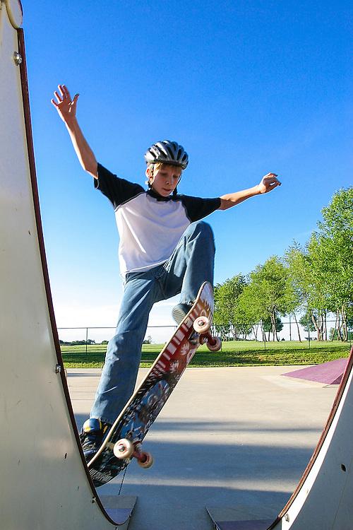 Austin jumps between ramps.