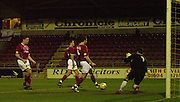 06/12/2003 - Photo  Peter Spurrier.FA Cup 2nd Rd - Northampton v Weston S Mare.Northampton attacke move in on Westons goal only to be ruled offside.