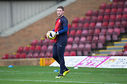 3rd November 2018, Fir Park, Motherwell, Scotland; Ladbrokes Premiership football, Motherwell versus Dundee; Dundee goalkeeper Jack Hamilton during the warm up