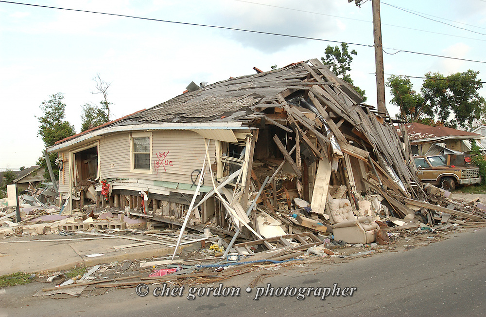 Destroyed homes in the Lower 9th. Ward of New Orleans, LA on Wednesday, June 28, 2006. Hurricane Katrina struck the Gulf states 10 months ago.
