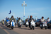 Scooters set off during the Brighton & Hove Albion Football Club Promotion Parade at Brighton Seafront, Brighton, East Sussex. United Kingdom on 14 May 2017. Photo by Ellie Hoad.