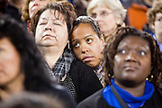 obamatucson 12 JANUARY 2011 - TUCSON, AZ: People in the University of Arizona stadium Wednesday listen to President Obama when it was used for overflow seating during the Together We Thrive Tucson & America event on University of Arizona campus. Tens of thousands of people filed into the stadium to hear President Obama speak. The service is for the victims of Saturday's mass shooting at a Safeway in Tucson.        ARIZONA REPUBLIC PHOTO BY JACK KURTZ..Gabrielle Giffords shooting, mass shooting,