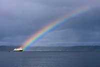 Rainbow on the National Geographic Sea Bird in Pavlof Harbor State Marine Park on Chichagof Island, Alaska.