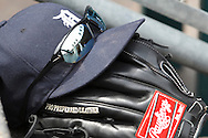 April 29, 2010:  Detroit hat and glove during the MLB baseball game between the Minnesota Twins vs Detroit Tigers at  Comerica Park in Detroit, Michigan.