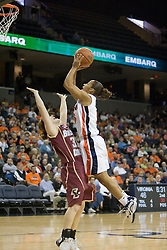 UVA's Sharnee Zoll (5) is fouled while shooting by BC's Mickel Picco (33).  The Cavaliers defeated the Eagles 65-63 in overtime at the John Paul Jones Arena in Charlottesville, VA on January 14, 2007.