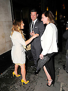 16.JUNE.2011. LONDON<br /> <br /> GEORGIE THOMPSON WITH DERMOT O'LEARY AND DEE KOPPANG ATTENDING THE WTA PRE-WIMBLEDON PARTY IN ASSOCIATION WITH RANGE ROVER AT THE KENSINGTON ROOF GARDENS IN CENTRAL LONDON<br /> <br /> BYLINE: EDBIMAGEARCHIVE.COM<br /> <br /> *THIS IMAGE IS STRICTLY FOR UK NEWSPAPERS AND MAGAZINES ONLY*<br /> *FOR WORLD WIDE SALES AND WEB USE PLEASE CONTACT EDBIMAGEARCHIVE - 0208 954 5968*