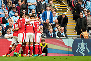 Arsenal defender Nacho Monreal (18), celebrate goal during the The FA Cup semi final match between Arsenal and Manchester City at the Emirates Stadium, London, England on 23 April 2017. Photo by Sebastian Frej.