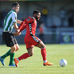 TELFORD COPYRIGHT MIKE SHERIDAN 29/9/2018 - Ellis Deeney of AFC Telford holds off Robbie Dale of Blyth during the Conference North fixture between Blyth Spartans and AFC Telford United at Croft Park, Blyth.