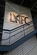 Apr 4, 2018; Los Angeles, CA, USA; General overall view of  the LAFC logo at the LAFC Performance Center on the campus of Cal State LA. The 30,000 square foot and $30 million facility will serve as home of the LAFC players, staff, coaches and academy.