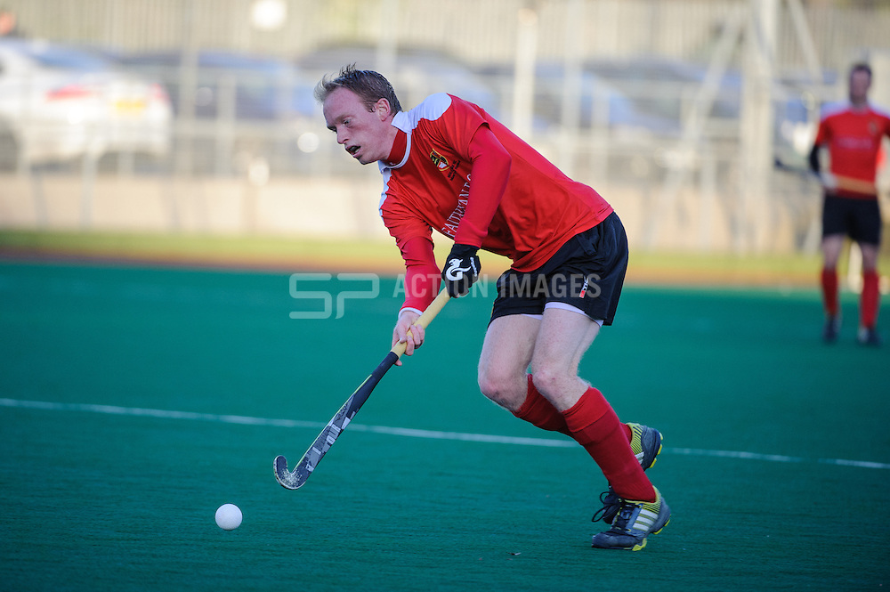 James Stedman of Holcombe during their match against Beeston in the England Hockey Men's Cup