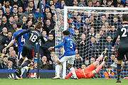 Arsenal defender Nacho Monreal (18) scores to equalise 1-1 during the Premier League match between Everton and Arsenal at Goodison Park, Liverpool, England on 22 October 2017. Photo by Craig Galloway.