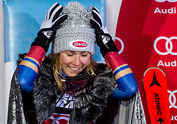 "Winner and Snow Queen 2018 Mikaela Shiffrin (USA) celebrates at Trophy ceremony after 2nd Run of FIS Alpine Ski World Cup 2017/18 Ladies' Slalom race named ""Snow Queen Trophy 2018"", on January 3, 2018 in Course Crveni Spust at Sljeme hill, Zagreb, Croatia. Photo by Vid Ponikvar / Sportida"