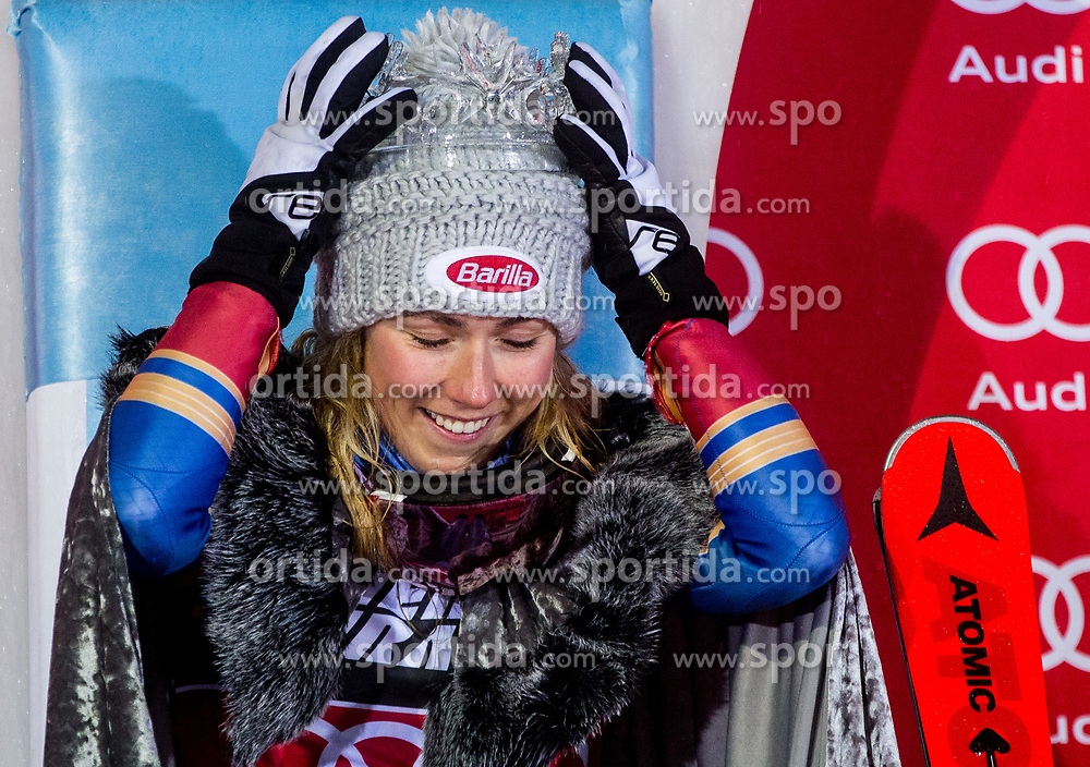 """Winner and Snow Queen 2018 Mikaela Shiffrin (USA) celebrates at Trophy ceremony after 2nd Run of FIS Alpine Ski World Cup 2017/18 Ladies' Slalom race named """"Snow Queen Trophy 2018"""", on January 3, 2018 in Course Crveni Spust at Sljeme hill, Zagreb, Croatia. Photo by Vid Ponikvar / Sportida"""