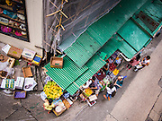 10 AUGUST 2013 - HONG KONG:    A fruit stall on a road in Hong Kong. Hong Kong is one of the two Special Administrative Regions of the People's Republic of China, Macau is the other. It is situated on China's south coast and, enclosed by the Pearl River Delta and South China Sea, it is known for its skyline and deep natural harbour. Hong Kong is one of the most densely populated areas in the world, the  population is 93.6% ethnic Chinese and 6.4% from other groups. The Han Chinese majority originate mainly from the cities of Guangzhou and Taishan in the neighbouring Guangdong province.      PHOTO BY JACK KURTZ
