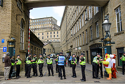 © Licensed to London News Pictures. 18/05/2017. Halifax, UK.  A heavy police presence at the launch event for the Conservative Party manifesto at The Arches in Halifax, West Yorkshire. The Conservatives are the last of the three main parties to launch their manifesto ahead of a snap general election called for June 8, 2017. Photo credit: Ben Cawthra/LNP