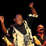 Ladysmith Black Mambazo member Ngane Dlamini performing at The Music Hall, Portsmouth, NH