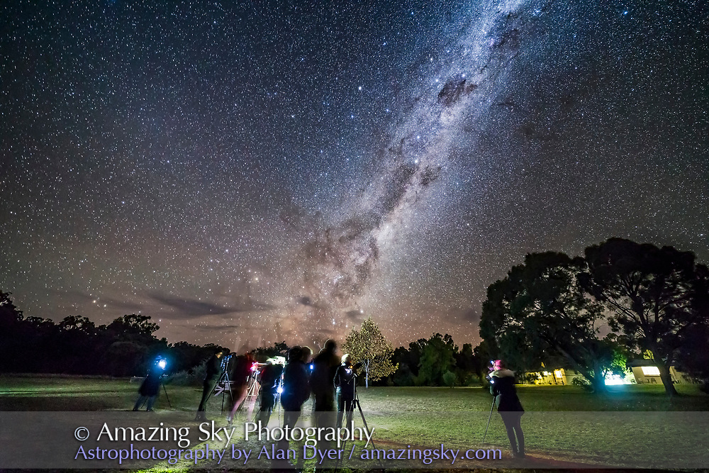 Participants at my &ldquo;Shooting Stars&rdquo; Workshop practicing their skills under the fabulous southern sky at the Warrumbungles Motel near Coonabarabran, Australia, April 29, 2017. <br /> <br /> This is a single exposure with the 14mm lens at f/2.5 for 30 seconds at ISO 5000 with the Canon 6D.