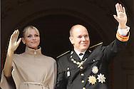 Monaco, Monaco - NOVEMBER 19: HSH Prince Albert II of Monaco and Princess Charlene attend the National Day Parade as part of Monaco National Day Celebrations on November 19, 2011 in Monaco.(Photo by Tony Barson/BARSONIMAGES)