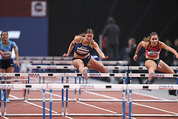 February 7, 2018 - Paris, Ile-de-France, France - From left to right : Sandra Sogoyou of France, Jade Barber of USA, Solene Ndama of France, Hanna Plotitsyna of Ukraine, Laura Valette of France compete in 60m Hurdles during the Athletics Indoor Meeting of Paris 2018, at AccorHotels Arena (Bercy) in Paris, France on February 7, 2018. (Credit Image: © Michel Stoupak/NurPhoto via ZUMA Press)