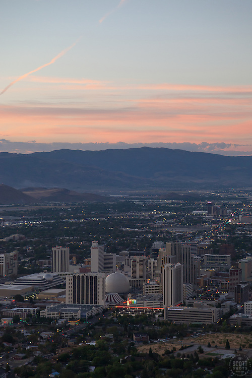 """""""Downtown Reno Sunrise Aerial 2"""" - This aerial photograph of Downtown Reno at sunrise was photographed from a hot air balloon during the 2012 Great Reno Balloon Race Dawn Patrol."""