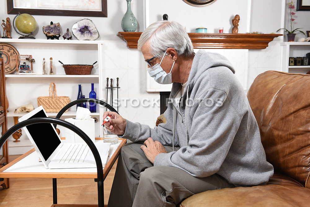 Man on a Video Chat With His Healthcare  Provider or Doctor