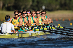 Australian Rowing Olympic Trials, March 2012, Sydney International Rowing Centre - Mens Eight - (L-R) Toby Lister (Cox), Bryn Coudraye, Matt Ryan, Nick Purnell, Brodie Buckland (replaced by Tom Swann), Josh Booth, Cameron McKenzie McHarg, Francis Hegarty, Sam Loch.