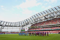 DUBLIN, REPUBLIC OF IRELAND - Saturday, August 4, 2018: Liverpool and SSC Napoli players line-up before the preseason friendly match between SSC Napoli and Liverpool FC at Landsdowne Road. (Pic by David Rawcliffe/Propaganda)